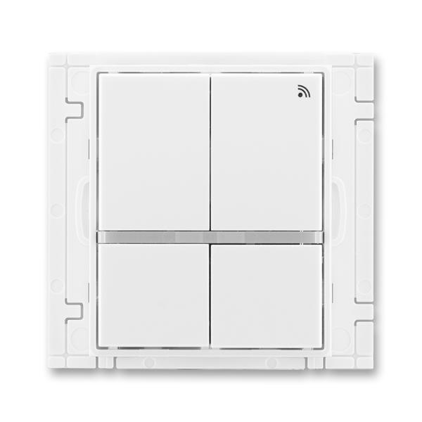 Vysielač rádiofrekvenčného (RF) signálu štvortlačidlový, nástenný, Element®, Time®, biela / biela