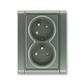 Zásuvka dvojnásobná s ochrannými kolíkmi, s clonkami, s natočenou dutinou, Time®, antracitová