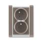Zásuvka dvojnásobná s ochrannými kolíkmi, s clonkami, s natočenou dutinou, Time®, lungo / mliečna biela