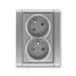 Zásuvka dvojnásobná s ochrannými kolíkmi, s clonkami, s natočenou dutinou, Time®, oceľová