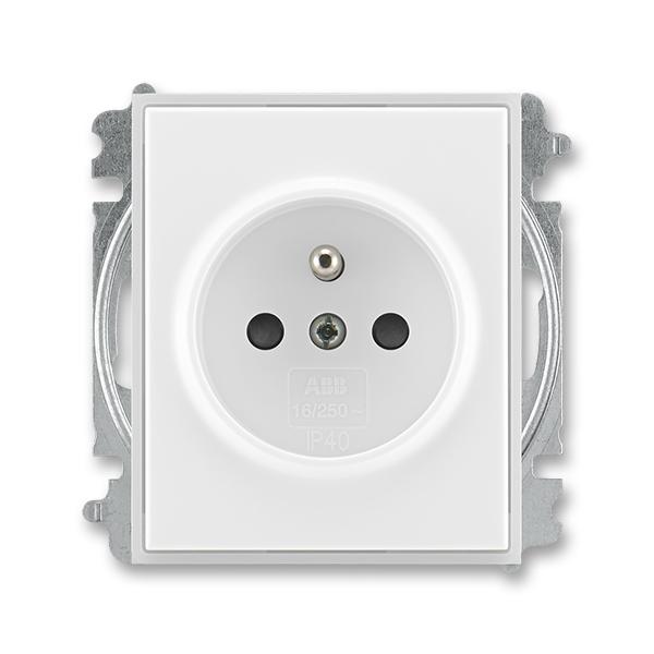 Zásuvka jednonásobná s ochranným kolíkom, s clonkami, Time®, Element®, biela / ľadová biela
