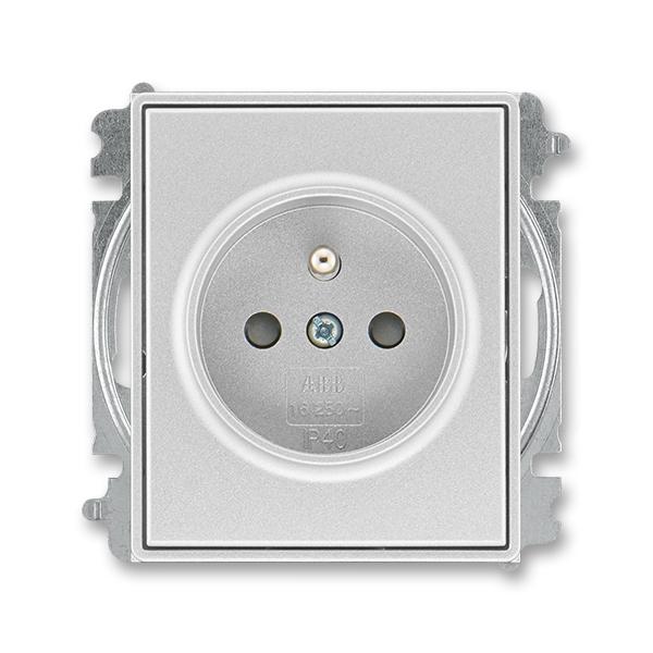 Zásuvka jednonásobná s ochranným kolíkom, s clonkami, Time®, Time® Arbo, titánová