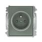 Zásuvka jednonásobná s ochranným kolíkom, s clonkami, Time®, Time® Arbo, antracitová