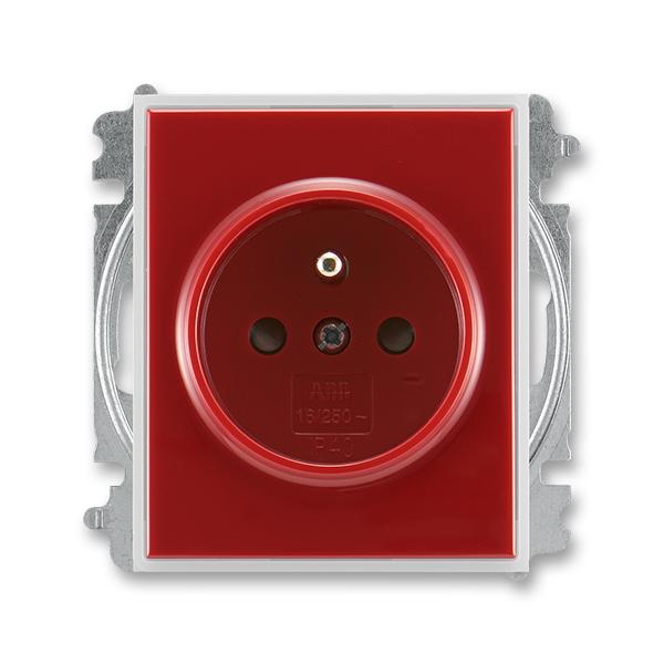 Zásuvka jednonásobná s ochranným kolíkom, s clonkami, Time®, Element®, karmínová / ľadová biela