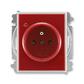 Zásuvka jednonásobná s ochranným kolíkom, s clonkami, s ochranou pred prepätím, Time®, Element®, karmínová / ľadová biela