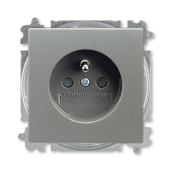 Zásuvka jednonásobná s ochranným kolíkom, s clonkami, Solo®, Solo® carat, metalická šedá