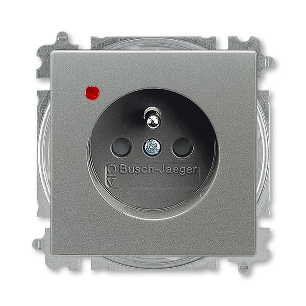 Zásuvka jednonásobná s ochranným kolíkom, s clonkami, s ochranou pred prepätím, Solo®, Solo® carat, metalická šedá
