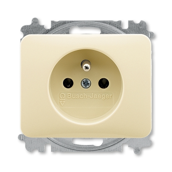 Zásuvka jednonásobná s ochranným kolíkom, Alpha exclusive®, slonová kosť