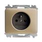 Zásuvka jednonásobná s ochranným kolíkom, Alpha exclusive®, palládium
