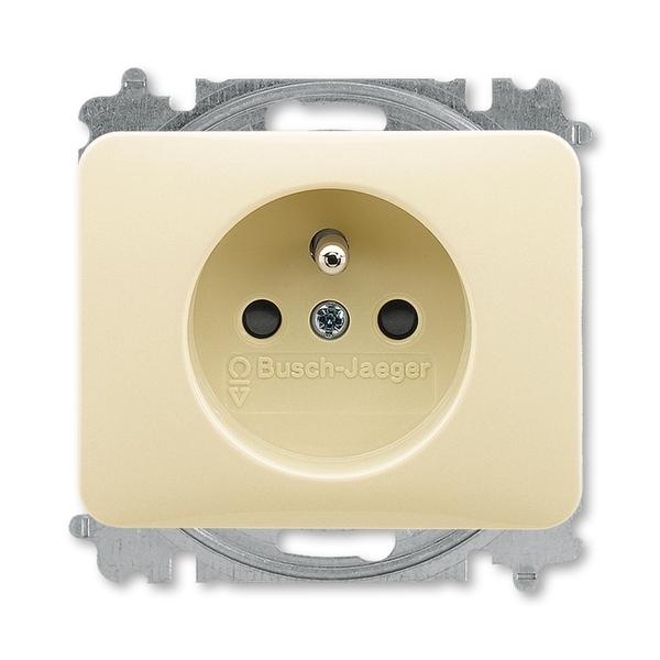 Zásuvka jednonásobná s ochranným kolíkom, s clonkami, Alpha exclusive®, slonová kosť