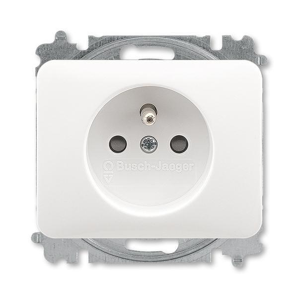 Zásuvka jednonásobná s ochranným kolíkom, s clonkami, Alpha exclusive®, alabastrová