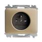 Zásuvka jednonásobná s ochranným kolíkom, s clonkami, Alpha exclusive®, palládium