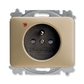 Zásuvka jednonásobná s ochranným kolíkom, s clonkami, s ochranou pred prepätím, Alpha exclusive®, palládium