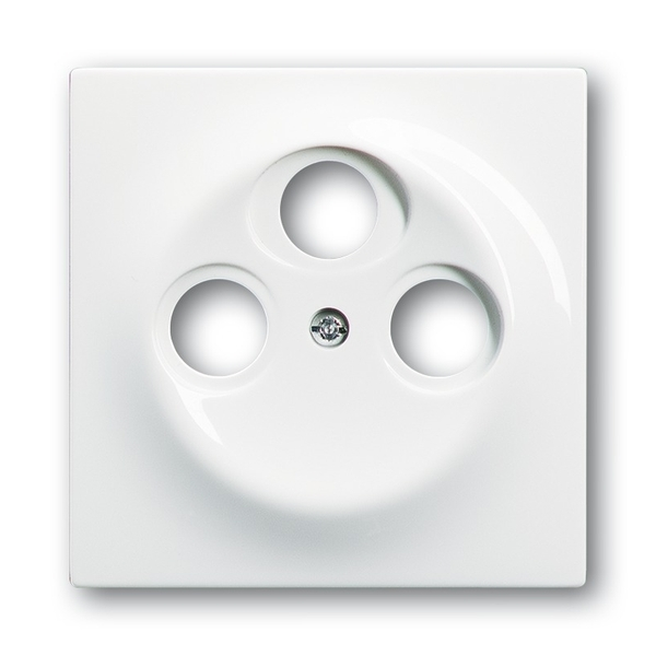 Kryt zásuvky anténnej s 3 otvormi, Impuls, alpská biela