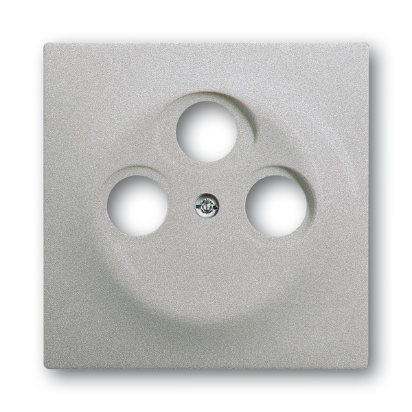Kryt zásuvky anténnej s 3 otvormi, Impuls, saténová strieborná