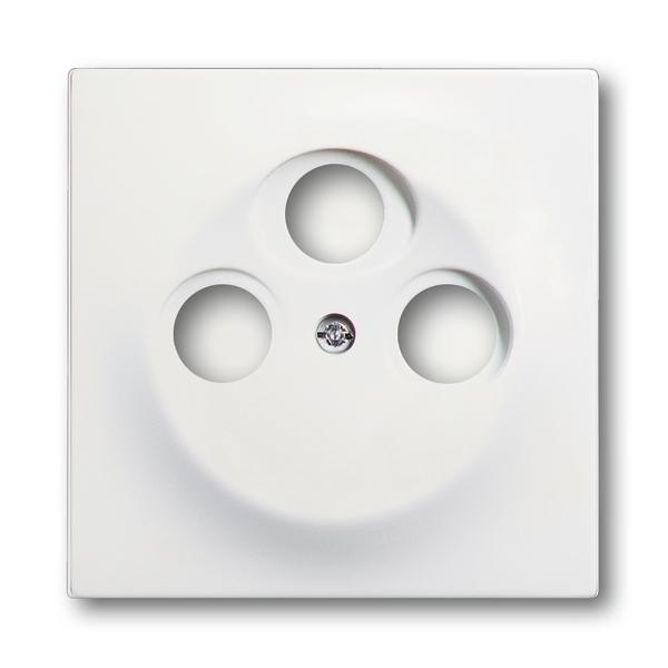 Kryt zásuvky anténnej s 3 otvormi, Impuls, zamatová biela