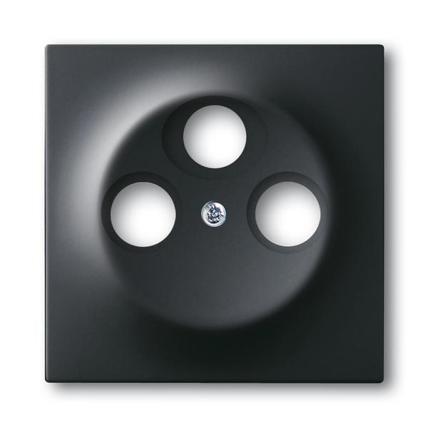 Kryt zásuvky anténnej s 3 otvormi, Impuls, zamatová čierna