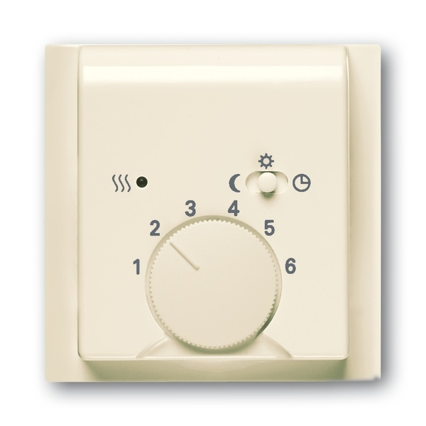 Kryt termostatu, s otočným ovládačom a posuvným prepínačom, Impuls, slonová kosť
