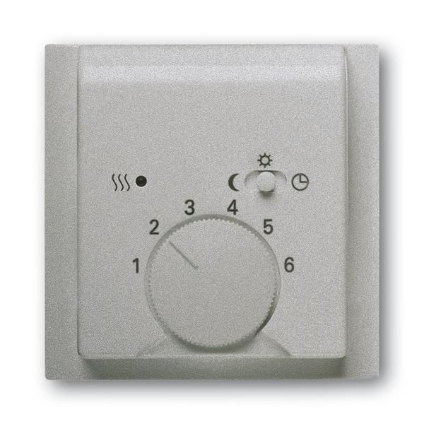 Kryt termostatu, s otočným ovládačom a posuvným prepínačom, Impuls, saténová strieborná