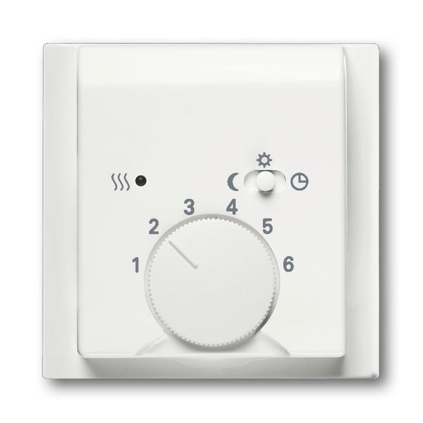 Kryt termostatu, s otočným ovládačom a posuvným prepínačom, Impuls, zamatová biela