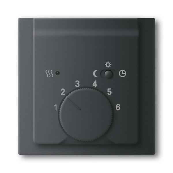 Kryt termostatu, s otočným ovládačom a posuvným prepínačom, Impuls, zamatová čierna