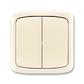 Prepínač striedavý dvojitý IP 44, zapustený, Tango®, slonová kosť