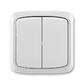Prepínač striedavý dvojitý IP 44, zapustený, Tango®, šedá
