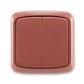 Prepínač striedavý dvojitý IP 44, zapustený, Tango®, vresová červená