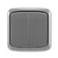 Prepínač striedavý dvojitý IP 44, zapustený, Tango®, dymová šedá