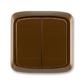 Prepínač striedavý dvojitý IP 44, zapustený, Tango®, hnedá