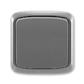 Prepínač krížový IP 44, zapustený, Tango®, dymová šedá