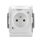 Zásuvka jednonásobná IP 44, s ochranným kolíkom, s clonkami, s viečkom, Element®, Time®, biela / biela