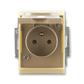 Zásuvka jednonásobná IP 44, s ochranným kolíkom, s clonkami, s viečkom, Element®, kávová / ľadová opálová