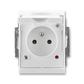 Zásuvka jednonásobná IP 44, s ochranným kolíkom, s clonkami, s viečkom, s ochranou pred prepätím, Element®, Time®, biela / biela