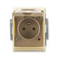 Zásuvka jednonásobná IP 44, s ochranným kolíkom, s clonkami, s viečkom, s ochranou pred prepätím, Element®, kávová / ľadová opálová