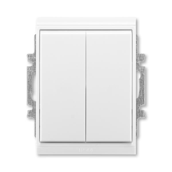 Prepínač striedavý dvojitý IP 44, zapustený, Time®, Element®, biela / ľadová biela