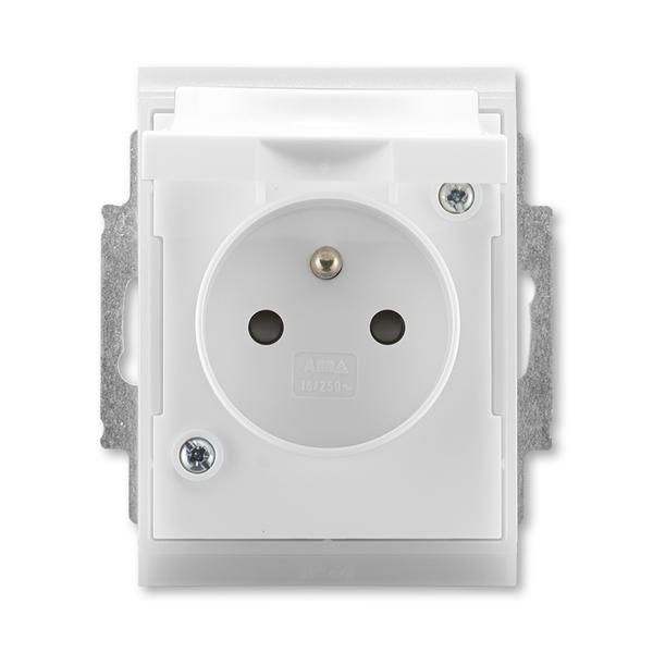 Zásuvka jednonásobná IP 44, s ochranným kolíkom, s clonkami, s viečkom, Time®, Element®, biela / ľadová biela