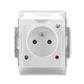Zásuvka jednonásobná IP 44, s ochranným kolíkom, s clonkami, s viečkom, s ochranou pred prepätím, Time®, Element®, biela / ľadová biela