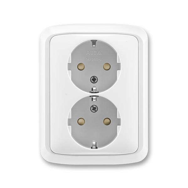 Zásuvka dvojnásobná s ochrannými kontaktmi (podľa DIN), s clonkami, Tango®, biela