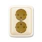 Zásuvka dvojnásobná s ochrannými kontaktmi (podľa DIN), s clonkami, Tango®, slonová kosť