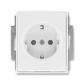 Zásuvka jednonásobná s ochrannými kontaktmi (podľa DIN), s clonkami, Element®, Time®, biela / biela