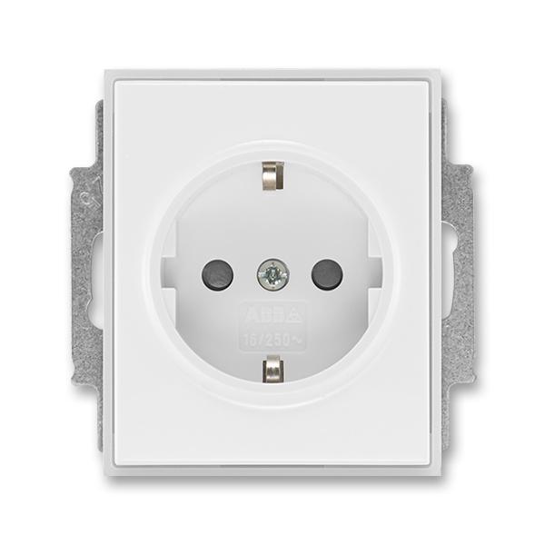Zásuvka jednonásobná s ochrannými kontaktmi (podľa DIN), s clonkami, Time®, Element®, biela / ľadová biela