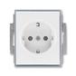 Zásuvka jednonásobná s ochrannými kontaktmi (podľa DIN), s clonkami, Element®, biela / ľadová šedá