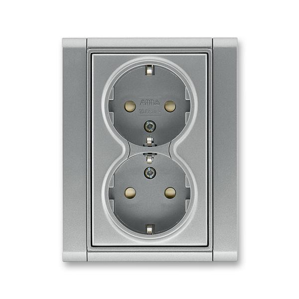 Zásuvka dvojnásobná s ochrannými kontaktmi (podľa DIN), s clonkami, Time®, oceľová