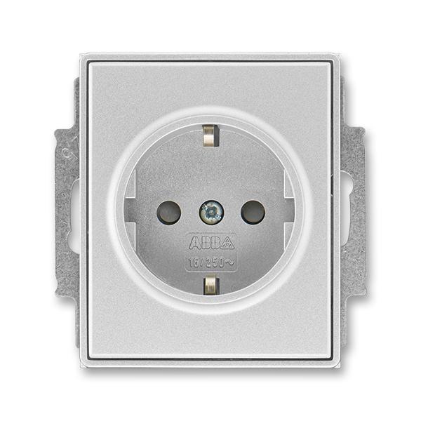 Zásuvka jednonásobná s ochrannými kontaktmi (podľa DIN), s clonkami, Time®, Time® Arbo, titánová