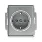 Zásuvka jednonásobná s ochrannými kontaktmi (podľa DIN), s clonkami, Time®, oceľová